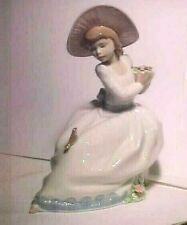 "Vintage 7 1/2"" Tall Nao By Lladro Spain The Nightengale'S Song Figurine # 1345"
