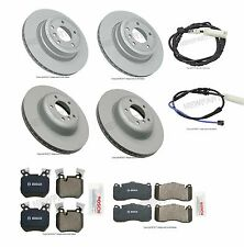 For BMW E82 E88 135i Set of 2 Front & 2 Rear Rotors & Brake Pad Set w/ Sensors