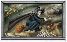FLYING WITCH on broom Scene Setter HALLOWEEN party prop wall decoration