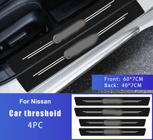 4pcs Car Sticker Protector Cover Carbon Fiber Door Sill Interior For NISSAN