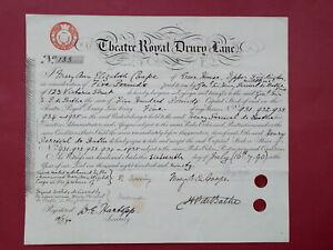 transfer share certificate 1890 Theatre Royal Drury Lane #133 (Covent Garden)