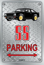 Parking Sign Metal Torana A9X SS Black with Simmons - Checkerplate Look