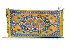 Rug made in France • Mustard Yellow Blue 24x19 Entrance Rug, Decorative Rug