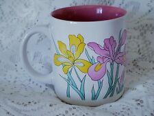 KIC Korea Vintage Mug Cup Iris Flowers Pink Yellow