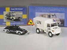 Nuevo: Wiking C & I somo colección Unimog Military Police y saab 900 polis Suecia