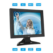 "15"" Full HD Touch Screen TFT LCD Monitor Display 4:3 VGA Video USB Input For Win"