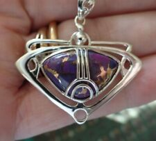 Arts & Crafts Style Sterling Silver Purple Turquoise Necklace December Bstone