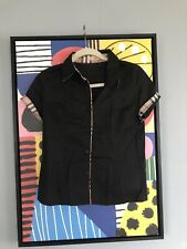 Burberry shirt Black Button Front Shirt Ladies Slim Fit Size XL Cut Small