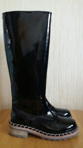 Authentic Runway Chanel Black Burgundy Patent Leather Chain Combat Boots Size 36