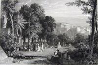 Greece, Athens AKADEMIA PLATONIC PLATO ACADEMY SCHOOL ~ 1829 Art Print Engraving