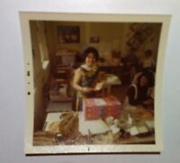 Vintage 70s Photo Asian Woman Reading Card At Her Retro Office Birthday Party