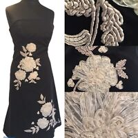 COAST Black Long Maxi A-Line Bodice Dress Floral Size 12 Cruise Wedding Party
