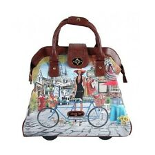 Rolling Business Tote Nicole Lee Travel Bag Paris NY Leather Wheeled Laptop Case
