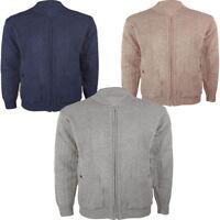 Gents Mens Grandad Style Vintage Knitted Zipper Classic Plain Zip Up Cardigan