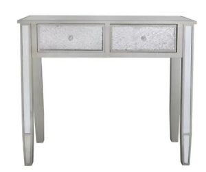 Glitz Crackle Mosaic Mirrored Glass 2 Drawer Console Table
