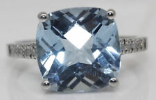 GORGEOUS 14K WHITE GOLD RING WITH 5.10 CTW TOPAZ AND DIAMONDS #G4