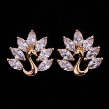 18K Gold Filled - Clear Zircon Gemstone Peacock Stud Hollow Club Girls Earrings