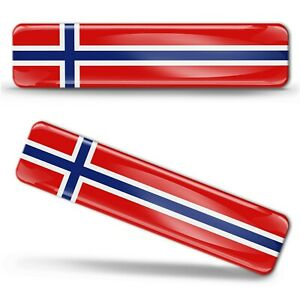 2x 3D Gel Silicone Norway National Flag Stickers Norwegian Decals Nordic Cross