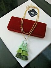 Hespera Necklace Long Gold Chain Green Tassels Designed for Anthropology NWT