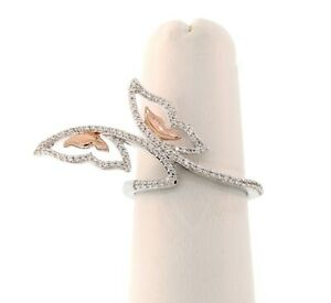 Brilliant round  Diamonique large butterfly ring 925 14k white rose gold finish