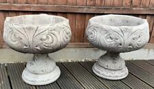 STONE GARDEN LARGE PAIR OF TRADITIONAL URNS URN PLANT POT GARDEN ORNAMENT