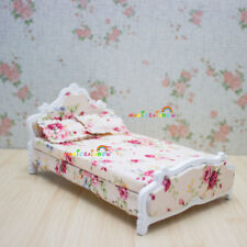 Wood Assembled Princess Bed Bedroom Furniture 1:12 Dolls House Miniatures White