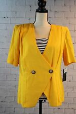NWT Just in Thyme 1990's Career Shoulder Pad Jacket Size 12 Bright Power Yellow