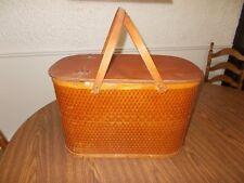 Large Picnic Basket w/ Pie Shelf Vintage HAWKEYE Burlington Woven Wicker