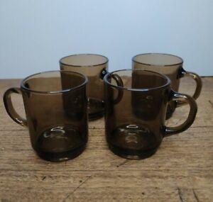 Duralex Smoked Glass Clear Coffee Mugs Set of 4