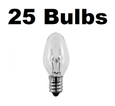Box of 25 Night Light / Candle Lamp Bulbs -7 watt, C7, Clear, Candelabra (7C7C)