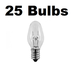 Box of 25 Night Light / Candle Lamp Bulbs -7 watt, C7, Clear, Candelabra (7C7C)