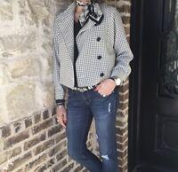 Cabi Womens Blazer Jacket Mandarin Collar Dolman Plaid Print Ivory Black Sz XS