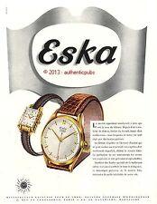 PUBLICITE ESKA MONTRE SUISSE POUR HOMME ET FEMME DE 1950 FRENCH AD WATCH PUB