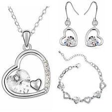 SPOSA cristallo bianco cuori set gioielli orecchini collana e bracciale S459