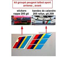 stickers pts RAPPE GTI 3 BANDES CALANDRE PEUGEOT TALBOT SPORT 205 309 GTI-rally