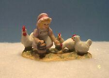 LEFTON COLONIAL VILLAGE - LILLIAN BLARNEY - 11577 - GIRL FEEDING CHICKENS - NEW