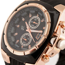 Luxury Black Gold Quartz Watch Men Boy Rubber Band Sport Case Relogio Masculino