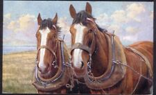 Two Working Horses Pose for the Artist. 1923 Vintage Postcard. Free Postage