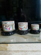 More details for 3 beautiful antique chinese famile rose maddalon lidded pot's & stand's.
