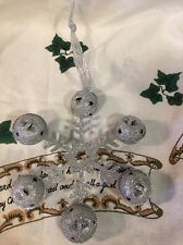 Lg SILVER SNOWFLAKE Ornament GLITTERED COATED Christmas Tree DECOR  WREATH Swag