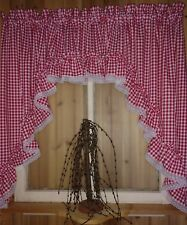 """Red Gingham Ruffled Swag Curtain  82"""" Wide x 36 Long"""