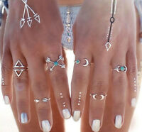Trendy 6Pcs/Set Silver Plated Boho Fashion Arrow Moon Midi Finger Knuckle Rings