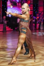 Brown Fringe Latin Dance Dress With Blue