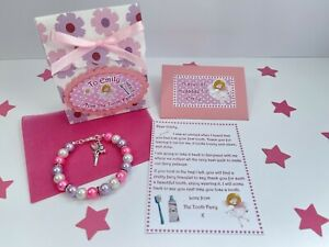 Personalised Tooth Fairy Letter Bracelet Gift Bag, First Tooth, Tooth Fairy