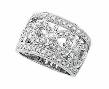 Genuine Diamonds 1/2 cttw Openwork Hearts 14K. Solid White Gold Band Ring size 6