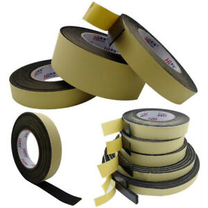 1/2/3mm Black EVA Foam Tape Single Sided Self Adhesive Sponge Door Strip Seal