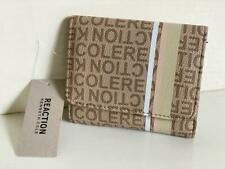 NEW KENNETH COLE REACTION STONE BROWN SMALL STATUS PRINT STRIPER WALLET SALE