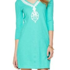 LILLY PULITZER Tidewater Tunic Dress 3/4 Slv Seafoam Turquoise Boho Cover Up S/M