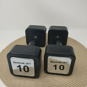 Vintage Reebok Pair Of 10 Lbs Square Rubber Dumbbell Weights - 20 Lbs Total