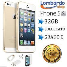 APPLE IPHONE 5S 32GB GRADO C ORO GOLD ORIGINALE RIGENERATO RICONDIZIONATO USATO